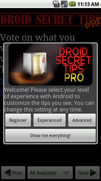 Droid Secret Tips Pro screenshot 1